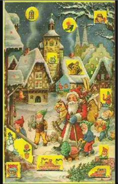 Advent calendar with pictures and glitter highlights. I still search this kind out for Advent Danish Christmas, Christmas Past, All Things Christmas, 1980s Childhood, My Childhood Memories, Vintage Christmas Cards, Retro Christmas, Advent Calenders, Christmas Calendar