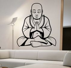 Buddha Wall Decal praying meditation Sticker Art Decor Bedroom Design Mural vinyl god peace life