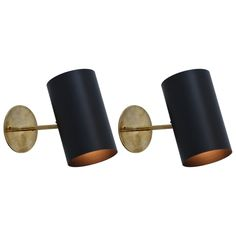 Boris Lacroix Black Cylinder Sconces | From a unique collection of antique and modern wall lights and sconces at https://www.1stdibs.com/furniture/lighting/sconces-wall-lights/