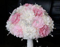 Broche ramo bouquet de bodas ramo única de la tela ramo