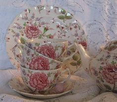 "My ""everyday""dishes Rose Chintz by Johnson Brothers"
