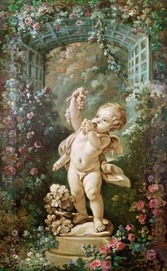 Cupid with Grapes & Trellis of Roses - François Boucher (1703 - 1770) - Oil on canvas