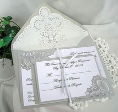Beautiful Metallic Silver and White Linen Doily Lace Handmade Invitation, RSVP Card and Doily Lined envelopes Elegant Metallic Silver Paper Doily Invitations, Shabby Chic Wedding Invitations, Handmade Invitations, Beautiful Wedding Invitations, Custom Wedding Invitations, Invitation Ideas, Wedding Images, Wedding Cards, Wedding Day