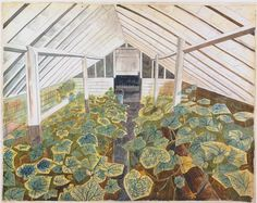 James Russell: Edward Bawden's Greenhouse - Gewächshaus Cucumber Plant, Manchester Art, Light Painting, Vintage Flowers, Garden Art, Illustration Art, Art Gallery, Watercolor, Prints