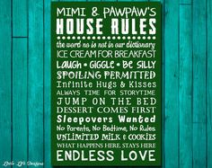 Grandparent's House Rules Sign. Grandparent's Gift by LittleLifeDesigns