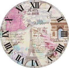 Time in Paris Paper Clock, Clock Art, Diy Clock, Clock Decor, Clock Face Printable, Printable Wall Art, Printable Postcards, Clock Template, Shabby Chic Clock