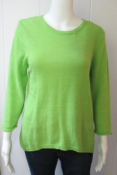 Lime Sweater | A split back lends a trendy feel to this summer sweater.  Crew neckline.  3/4 Sleeves.  77% Acrylic/23% Nylon.  Sizes S-XL.