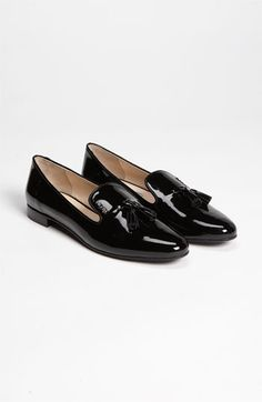 Prada Smoking Slipper in Black, patent leather w/ logo and tassels, 690 (nordstrom)