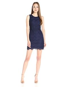 Jessica Simpson Womens Floral Scallop Pop Over Dress Navy 6 -- Check out this great product.
