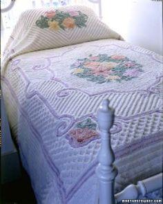Chenille floral bedspread ~ I have one that looks very much like the one above. Floral Bedspread, Vintage Bedspread, Chenille Bedspread, Vintage Quilts, Grey Bedding, Linen Bedding, Chic Bedding, Dorm Bedding, Bedding Sets
