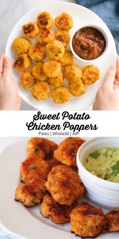 These sweet potato chicken poppers are gluten-free, paleo, AIP, egg-free, and totally delicious! potato al horno asadas fritas recetas diet diet plan diet recipes recipes Baby Food Recipes, Healthy Dinner Recipes, Whole Food Recipes, Vegetarian Recipes, Healthy Sweet Snacks, Healthy Toddler Meals, Low Calorie Recipes, Healthy Meals Picky Eaters, Chicken Recipes For Toddlers