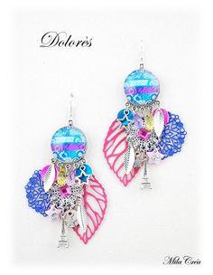 Boucle d'oreille moderne - boucle d'oreille multicolore tendance cabochon fait main Milacréa : Boucles d'oreille par milacrea