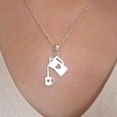 Coffee Necklace for coffee lovers- Handmade Silver Heart Necklace $59.00