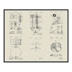 Stanton bass drum patent from 1904 blueprint art print by aged drum blueprint poster touch of modern malvernweather Images