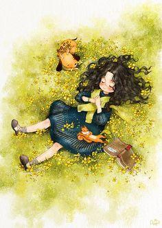 ILUSTRADOR Sur Coreano, AEPPOL | Forest Girl, Illustration Girl, Illustrations, Anime Art Girl, Belle Photo, Cartoon Art, Cute Drawings, Cute Art, Fantasy Art
