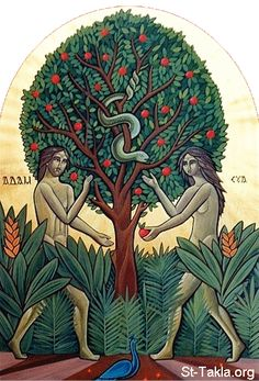 Adam and Eve Genesis | ... Genesis/Adam-and-Eve/www-St-Takla-org--Adam-and-Eve-Eden-Coptic-01.gif