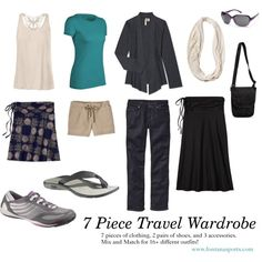 7 Piece Travel Wardrobe. Good reference for packing lightly.