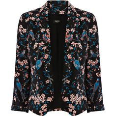 OASIS Botanical Bird Print Jacket ($46) ❤ liked on Polyvore featuring outerwear, jackets, blazers, coats, casacos, multi, cropped jacket, floral blazer jacket, cropped blazer jacket and floral print blazer