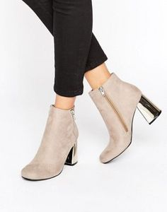 New Look Suedette Metal Heeled Ankle Boot