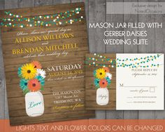 Rustic Mason Jar Country Wedding Invitations by NotedOccasions