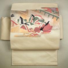 Ivory, nagoya obi / 普段使いに。【名古屋帯】化繊/白色/アイボリー地/源氏物語風柄/お太鼓柄/八寸 【リサイクル着物 きもの リサイクル アンティーク 通販 中古 古着】 http://www.rakuten.co.jp/aiyama #Kimono #Japan #aiyamamotoya
