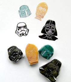 Star wars hand carved stamps. (I'm not even a hard-core SW fan, but my oh my...!)