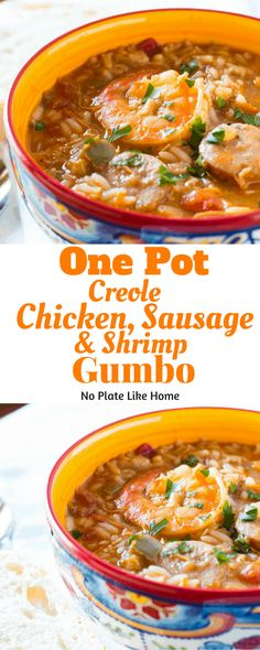 One Pot Creole Chicken, Sausage and Shrimp Gumbo This One Pot Cr. - One Pot Creole Chicken, Sausage and Shrimp Gumbo This One Pot Creole Chicken, Sausa - Shrimp And Chicken Gumbo, Chicken Gumbo Recipes, Shrimp And Sausage Gumbo, Easy Crockpot Chicken, Seafood Gumbo, Sausage Recipes, Seafood Recipes, Shrimp And Sausage Creole Recipe, Gumbo Recipe With Okra