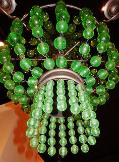Green glass beaded chandelier