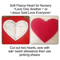 Sew soft fleece hearts for LDS Nursery singing time to go with two music songs
