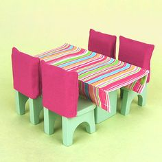 Wooden Dollhouse Furniture: Dining Room Set by OnceUponATreeHouse
