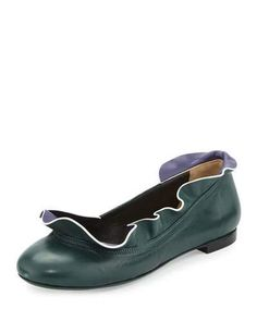 S0FKS Fendi Ruffle-Collar Leather Ballerina Flat, Malachite