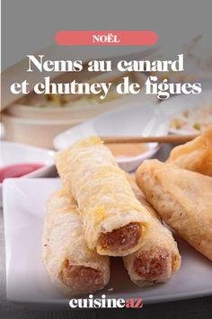 Les nems au canard et chutney de figues sont une entrée chaude facile à cuisiner pour Noël #recette#cuisine#nems#canard #figues #entree #noel#fete#findannee #fetesdefindannee