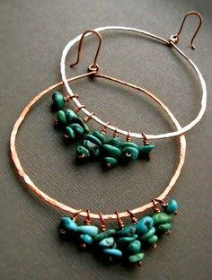 Homemade Turquoise and Copper Hoop Earrings---------love these!