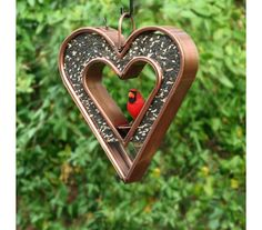 The heart within a heart design of this designer metal birdfeeder is the perfect gift for both you and your feathered  loved ones. Plexiglass Panels, Copper Decor, Copper Pots, Easy To Love, Bird Feeders, Animals And Pets, Color Change, Heart Shapes, Lovers
