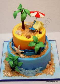 Cakes by Maylene. good idea when my finace and I decide to have host summer bbq beach party in the future. i would wanna to make this cake! Beach Themed Cakes, Beach Cakes, Cupcakes, Cupcake Cakes, Beach Cake Topper, Rodjendanske Torte, Luau Cakes, Island Cake, Retirement Cakes