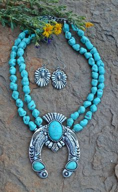 COWGIRL Bling Southwest Turquoise SQUASH BLOSSOM Western Gypsy NECKLACE SET #VIOLA