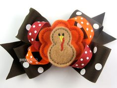 Thanksgiving Bows Turkey Hair Bow Felt Center Brown by PoppyBows