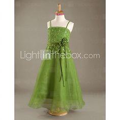 A-line Spaghetti Straps Floor-length Organza Lace Junior Bridesmaid Dress  - USD $99.99