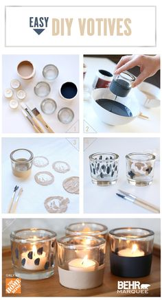 This holiday season, add a little festive flair to your dining table. For an easy to-do uplift, paint votives for an inexpensive pop of color! First take paint and pour into containers. Dip votives into paint and coat the bottom half. Use small paint brushes and add designs as you'd like. Let dry and add candles, place on the table and you have a colorful and unique focal point to your dining room table!