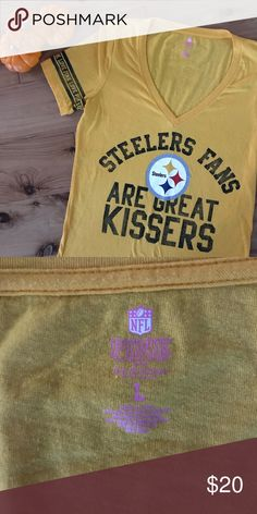 Victoria Secret PINK Steelers V Neck Excellent used condition. Wrinkles not included :) PINK Victoria's Secret Tops Tees - Short Sleeve