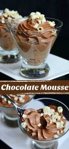 Chocolate Mousse! Made from scratch. Delicate yet rich dessert that goes perfectly for any celebration. #chocolate #mousse #dessert #chocolatedessert Mousse Dessert, Easy Chocolate Mousse, Chocolate Shavings, White Chocolate, Chocolate Mousse Cake Filling, Brownie Desserts, Chocolate Desserts, Easy Desserts, Delicious Desserts