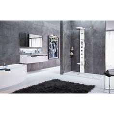 Coin duschrückwand deux plaques alu bain douche mur Glass Poly White