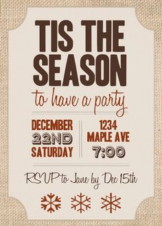 Burlap Christmas Party Invitation  PDF by withlovexdesigns on Etsy, $15.00