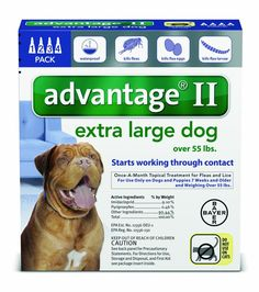 Bayer Advantage II Flea and Lice Treatment for X-Large Dogs, Over 55 lb, 4 do...
