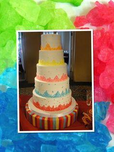 Rainbow rock candy cake