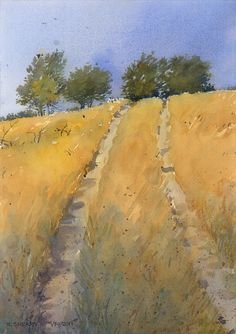 """Over The Hill by Richard Sneary Watercolor ~ 14"""" x 10"""""""