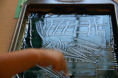 Cookie Sheet Monoprints-I will use the homemade fingerpaints that I pinned before- and notice the links at the bottom of the page on this blog, lots of fun crafts :)