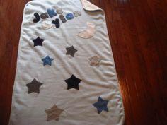 Fleece Baby Blanket: Lt Blue Cream Stars w/ a Moon