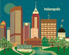 Indianapolis, Indiana downtown city scene at night - Drawing Poster Print Horizontal  Art for Home, Office, and Nursery  (2 colors schemes). $19.99, via Etsy.