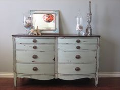 bow front dresser with original hardware and stained top
